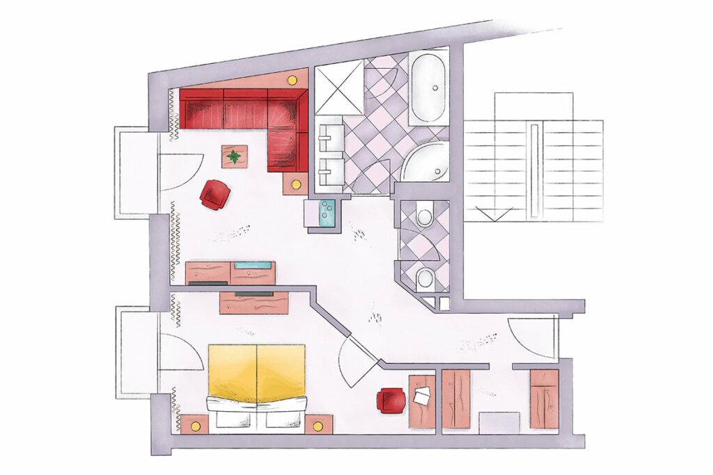EDELWEISS_Zimmer_417_Watzmann-Galerie-Skizze
